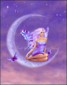 Fantasy Art Lavender Moon Fairy 5x7 Print by twosilverstars, $10.00