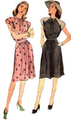 748c51499581 1940s Dress Pattern WWII Era Simplicity Unprinted Vintage Sewing Raglan  Sleeve Women's Misses Size 1 1940s