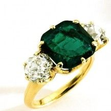 Gold, emerald, and diamond ring, by Tiffany & Co., American, c. 1915.