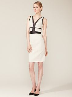 Narciso Rodriguez Leather Detailed Sheath Dress