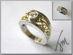 Custom Filligree Diamond Ring