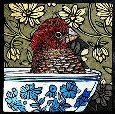 Theo Paul Vorster ~ something about the absurdity of a chicken in a teacup appeals to me... Lol