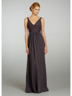 Chiffon A-line V-Neck Floor Length Brown Natural Waist Prom Bridesmaid Dress LBS1188