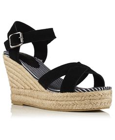 Superdry women's Isabella espadrille wedge sandals. These wedged sandals are made from a soft suede and have an espadrille style wedge. The Isabella wedges are finished with a Superdry logo on the cushioned heel insole. Black Wedge Sandals, Sandals For Sale, Soft Suede, Superdry, Women Wear, Wedges, Espadrille Wedge, Heels, Boots