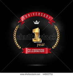 1 Year golden anniversary logo, low poly design number - stock vector