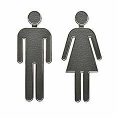 "HepiSign PRE-TAPED Door Sign for Bathroom Toilet Restroom WC Door Accessories Symbol Sign Set of 2 for Home Office and Work Grey 5.9"""