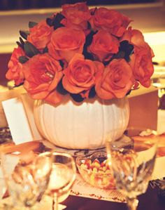 White pumpkin centerpiece. I like this idea because I can still keep the feel of fall without all the fall colors.