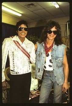 Eddie Van Halen and Michael Jackson Backstage 1984 by Taylor Player, via Flickr