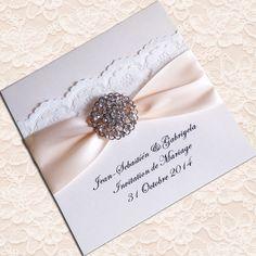 Elegant Ivory Lace Wedding Invitations Embellished With Rhinestone brooch