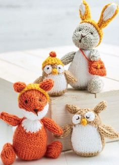 Knit all four of Sachiyo's adorable animals and their winter accessories!