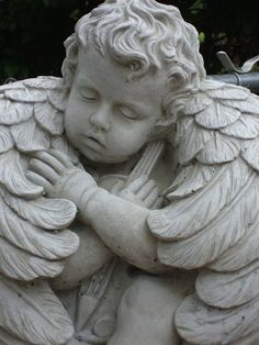 Beautiful Angel Cherub Concrete Statue on Stand by CastStone, $60.00
