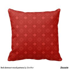 Red abstract wood pattern throw pillows