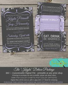 "SALE! The ""Kayla"" Deluxe - Fun, Modern Wedding Invitation Package - Printable DIY Digital Files - Gray, Purple, Swirls, Typography, Shower"