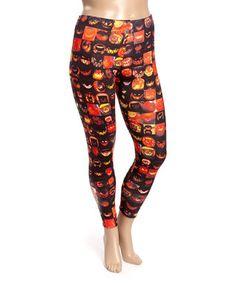 Black & Orange Jack-O-Lantern Leggings - Plus
