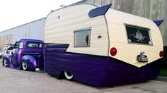 Vintage purple Shasta trailer camper 'n purple truck.  LOVE it!