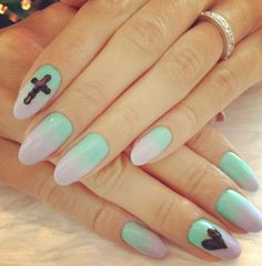 Esnails la. pastel nails #heart #cross