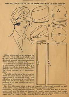 Lana creations: Cloche Hat Pattern- Felt Hats- Fleece Hat Patterns and Instruction For Sewing Fleece Hat Pattern, Hat Patterns To Sew, Vintage Sewing Patterns, Skirt Patterns, Blouse Patterns, Crochet Pattern, Free Pattern, 1920s Hats, 1920s Flapper