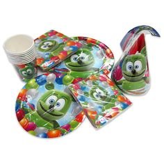 Celebrate your next birthday, holiday, or special occasion with a festive Gummibär party set featuring Gummibär - everyones favorite dancing and
