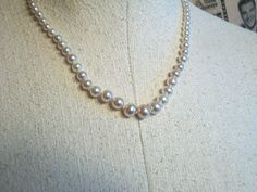 Glass Knotted Pearl Sterling Clasp Necklace by thedepo on Etsy,