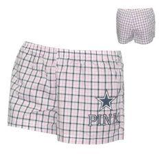 WOMENS Pink Victoria's Secret NFL Dallas Cowboys Plaid Cotton Lounge / Sleep Shorts - Pink
