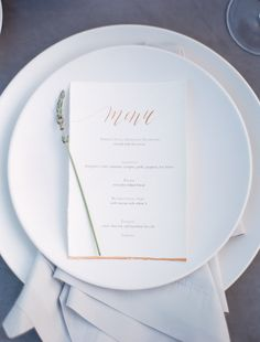 Elegant minimal menu. Photography : Samantha Kirk Photography Read More on SMP: http://www.stylemepretty.com/2016/08/18/escape-to-the-hills-of-carmel-valley-with-this-inspo/