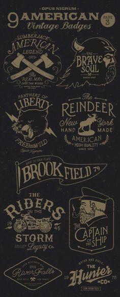 American Vintage Badges Part 3 by OPUSNIGRUM, via Behance