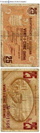 Guissona - 25 cts. : Ajuntament de Guissona, val per vint-i-cinc cèntims . Emissió feta segons acord pres per l'Ajuntament en sesió del 2 d'agost de 1937 :: Paper moneda del Pavelló de la República (Universitat de Barcelona)