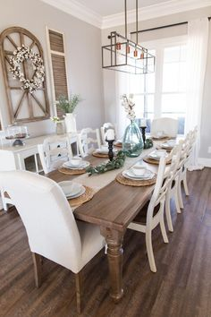 Spring Farmhouse Dining Room Table Ideas, Place Setting, Cotton, Decor, Inspiration, Decorating, Modern Farmhouse, Fixer Upper, Vase, Farm Table #diningroomremodel