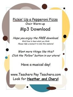 Did you download the FREE Choir Warm-Ups for Modern Kids?Here's an MP3 of Pickin' up a Pepperoni Pizzafeatured on the CD - Campfire Songs for Modern Kids.  Find more fun songs at www.CampfireSongsForModernKids.comLove this FREE product?  Click Follow Me and we'll keep youposted when we have new products to offer!Thanks so much for shopping in the Enthusic Music Store!http://www.teacherspayteachers.com/Store/Enthusic-MusicCustomer Tips:Dont Forget to collect your TPT credit to use on future…