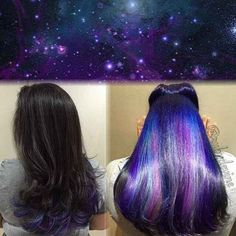 13 Underlights Hair Color Ideas That Are Cooler Than Anything From The – unterhellt Haare Bold Hair Color, Bright Hair, Bold Colors, Galaxy Hair Color, Peekaboo Hair Colors, Peekaboo Highlights, Color 2, Ombré Hair, Hair Dos
