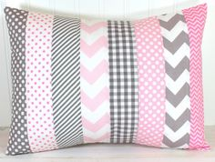 Throw Pillow Cover, Nursery Cushion Cover, Nursery Decor, Crib Bedding, Baby Girl Nursery Pillow, 12 x 16 Inches, Baby Pink and Gray Chevron on Etsy, $22.50