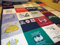 T-shirt quilt tutorial-love!.. SO need to do this!  for my Sorority shirts and my DH's concert T's.. :)