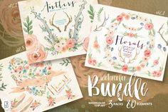@newkoko2020 BUNDLE! Watercolor florals by GrafikBoutique on @creativemarket #feminine #watercolor #female #branding #brand #style #women
