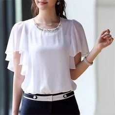 KRBN Brand Women Tops Chiffon Blouse Summer Women Clothing 2016 Ladies Blouses Casual Short Sleeve Plus Size White Girl's Shirts - ladies long sleeve shirts blouses latest ladies blouse light grey blouse ad Indian Blouse Designs, Top Chic, Fashion Designer, Blouses For Women, Ladies Blouses, Blouse Styles, Ladies Dress Design, Chiffon Tops, Fashion Dresses