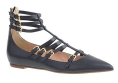 J Crew T-Strap Cage Flats Shoes