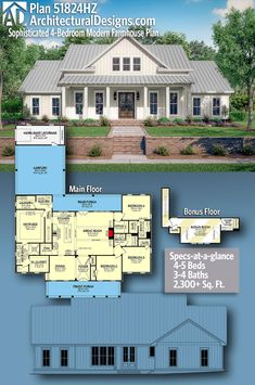 Architectural Designs Modern Farmhouse Plan is square feet w/ large bedrooms and 3 – 4 baths PLUS an optionally finished bonus. A symmetrical front with board & batten gives it great curb appeal. With this open concept plan you g 4 Bedroom House Plans, New House Plans, Dream House Plans, Dream Houses, Pool House Plans, Log Houses, Family House Plans, Farmhouse Floor Plans, Farmhouse Style