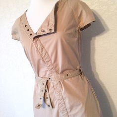 """Khaki Dress Khaki Converse One Star dress with snap-front closure and included belt. Will fit best on small bust. 100% cotton. Length: 34"""". Excellent condition. Size 2 Converse Dresses"""