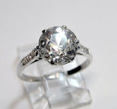 1910's Late Edwardian 3.34ct Round VINTAGE ANTIQUE Solitaire Diamond Wedding ENGAGEMENT Ring in Platinum. $19,870.00, via Etsy.
