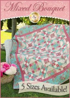Romantic Roses Pieced Quilt Pattern - 5 SIZES INCLUDED | Shabby ... : romantic quilt patterns - Adamdwight.com