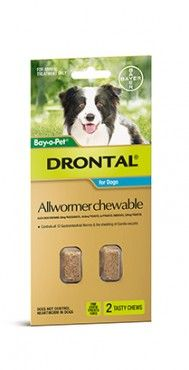 Bayer Drontal Medium Dogs 2, 5 and 20 chews -Drontal is Australias number 1 vet recommended allwormer for dogs and cats. Drontal Allwormer controls all gastrointestinal worms in dogs including roundworm, hookworm, whipworm and tapeworm (including hydatid tapeworm).
