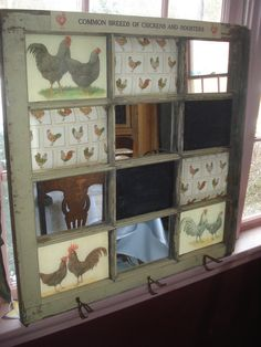Antique Farmhouse Window Repurposed / ReCreated Information Center Communication Board Mirrors/Chaulkboards/Post-it Pin Pads Antique Hangers by CelestialReCreations on Etsy