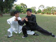 Xiang Qian, Zhu and Sien Long, Chong in Chenjiagou Push Hands routine, free form. Circa 2010.  Click here for a photo journal of our 2010 Chen Tai Chi workshop in Perth, Australia, with Grandmaster Zhu Tian Cai.
