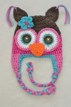 owl hat, crochet owl hat, baby hat, crochet baby hat, crochet kids hat via Etsy MALLORY wants this exactly as is.