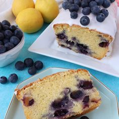 Recipe for a Lemon & Blueberry Loaf Cake - light lemon sponge packed with juicy blueberries, decorated with a zingy lemon icing and fresh blueberries Lemon Blueberry Cookies, Blueberry Loaf Cakes, Blueberry Recipes, Lemon Recipes, Cake Recipes, Dessert Recipes, Desserts, Easy Loaf Cake Recipe, Biscuit Spread