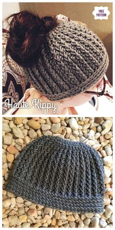 Crochet Gina Messy Bun Hat Free Crochet Pattern - Crochet Ideas This Messy Bun Hat Pattern is Yours, Easy Crochet Hats with Free TutorialsSkeleton Messy Bun Beanie Häkelanleitung Crochet Pony, Poney Crochet, Crochet Cap, Crochet Messy Bun Hats, Crochet Pattern Free, Crochet Headband Pattern, Crochet Ideas, Free Crochet Hat Patterns, Crochet Headbands