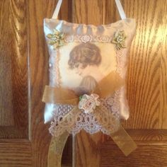 6 inch lavender scented sachet in golden tan by cindysvictorian