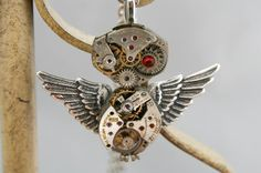 Steampunk Owl Necklace  Vintage Watch by Take2GiveOneLove on Etsy, $36.95