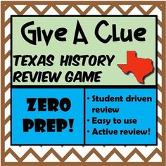 """his a review game that I call """"Give a Clue."""" It reviews Texas History - 7th grade TEKS. How to Play: Students stand up and pair up. You can also do groups of 4. Half of each group faces your projector screen and the other half of each group has their Texas History 7th, Game Zero, Review Games, Stand Up, Social Studies, Students, Faces, Teaching, Play"""