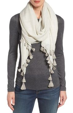 Free shipping and returns on Eileen Fisher Tassel Trim Wool & Silk Scarf at…
