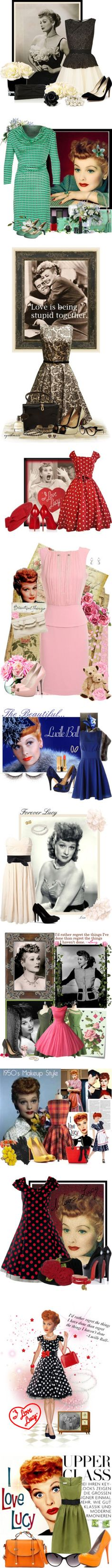 """""""I Love Lucy"""" outfits...I LOVE The off-shoulder pink one towards the bottom. They had the best style back then."""
